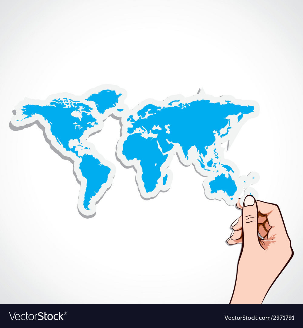 Blue map icon in hand vector | Price: 1 Credit (USD $1)