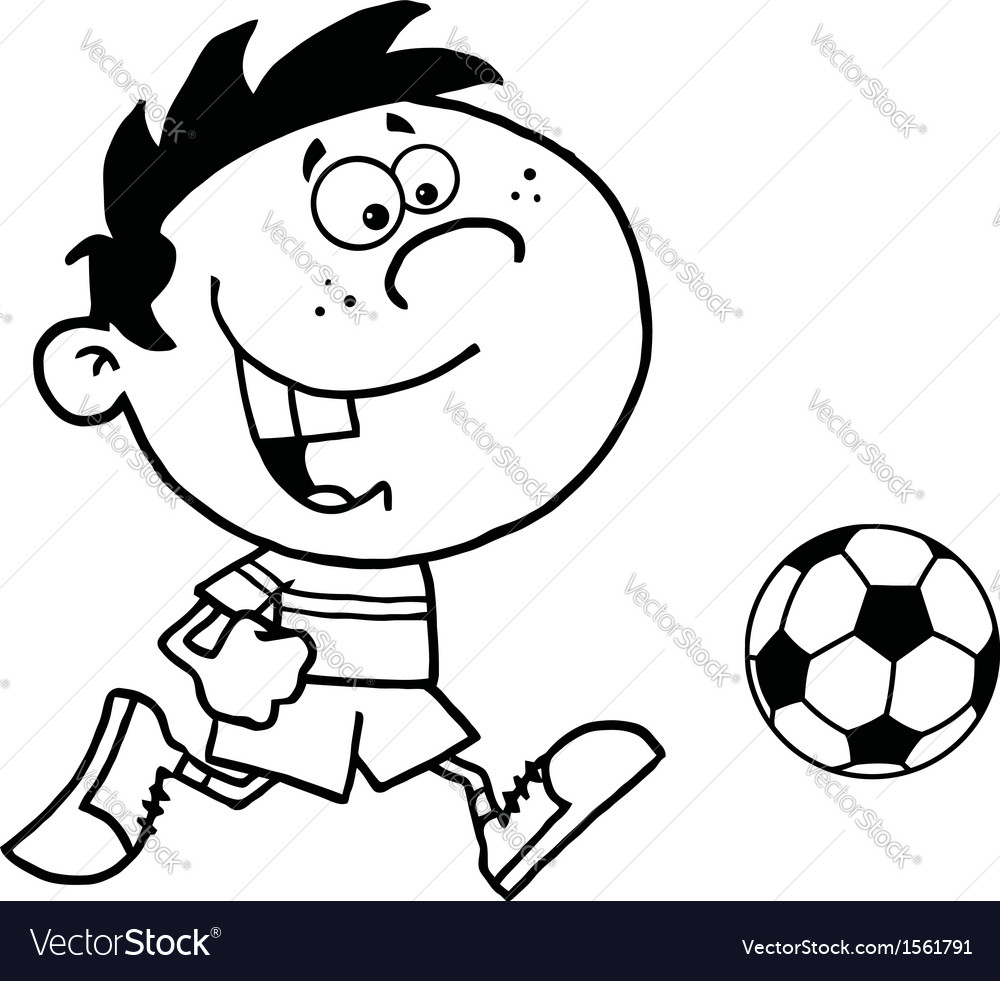 Cartoon child playing soccer vector | Price: 1 Credit (USD $1)