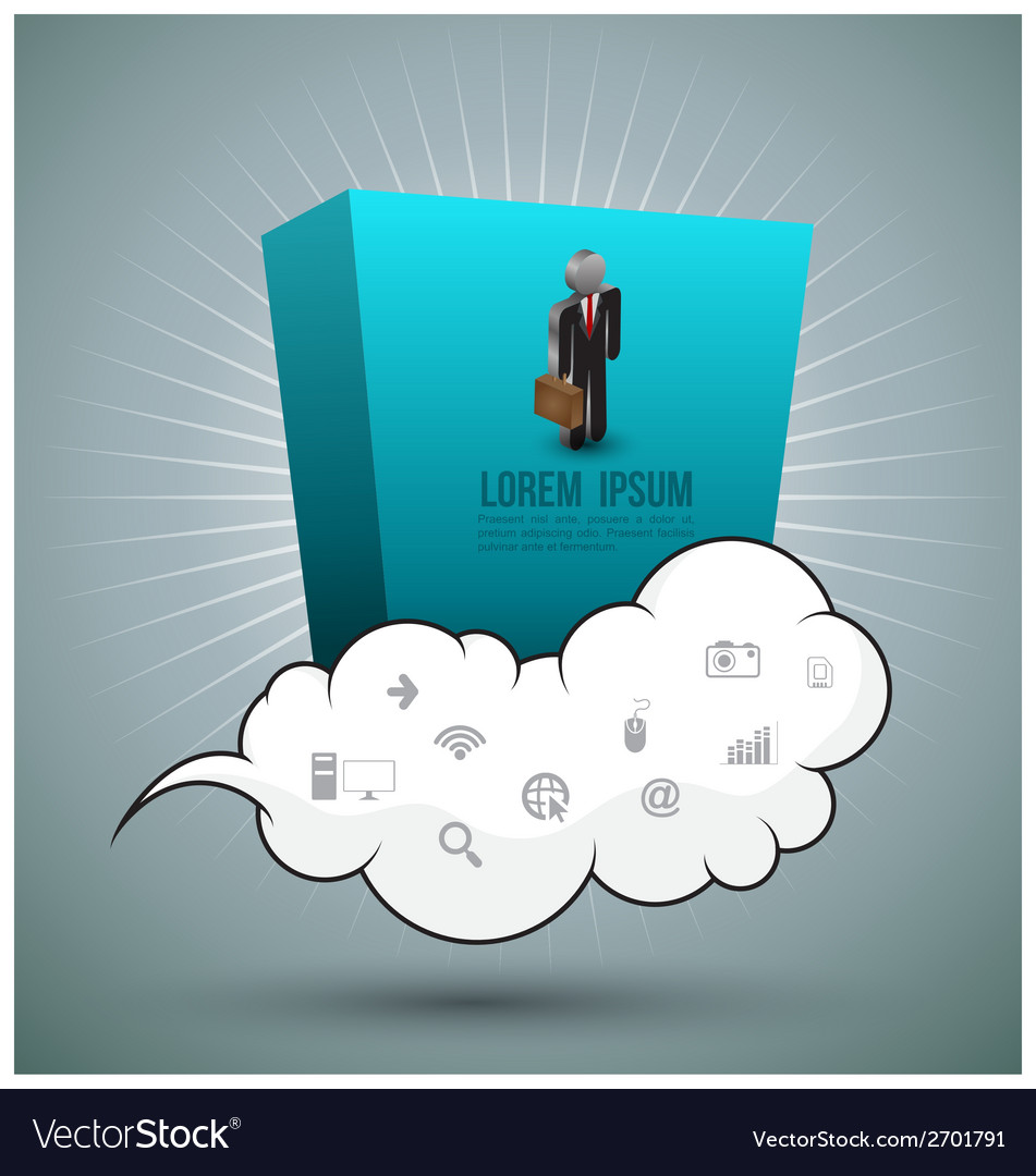 Cloud and rectangle with business man vector | Price: 1 Credit (USD $1)