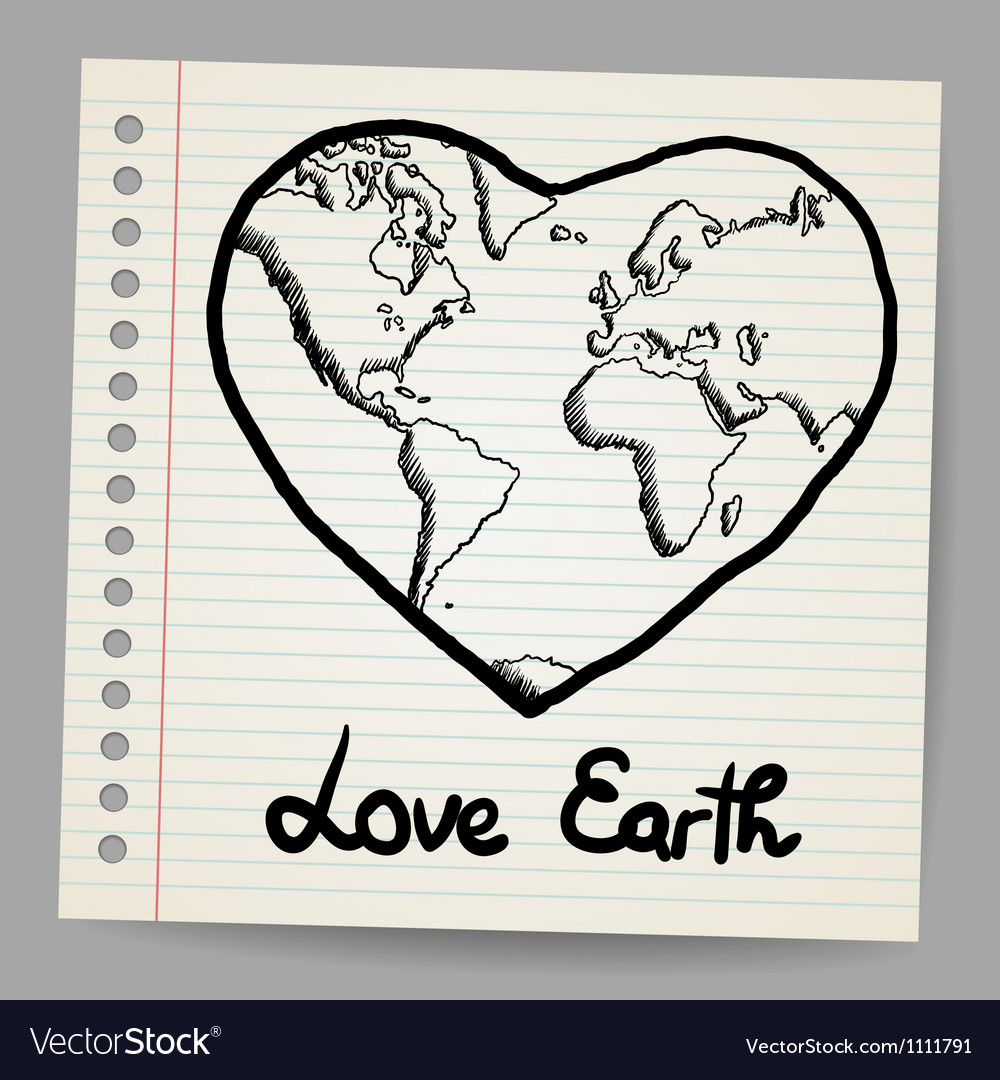 Earth love doodle vector | Price: 1 Credit (USD $1)