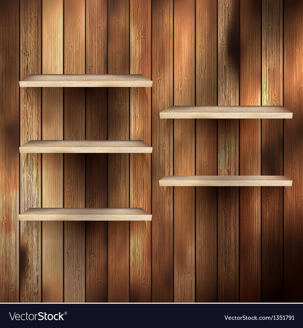 Empty shelf for exhibit on wood background eps 10 vector | Price: 1 Credit (USD $1)