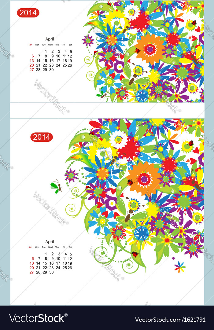 Floral calendar 2014 april design for two size of vector | Price: 1 Credit (USD $1)