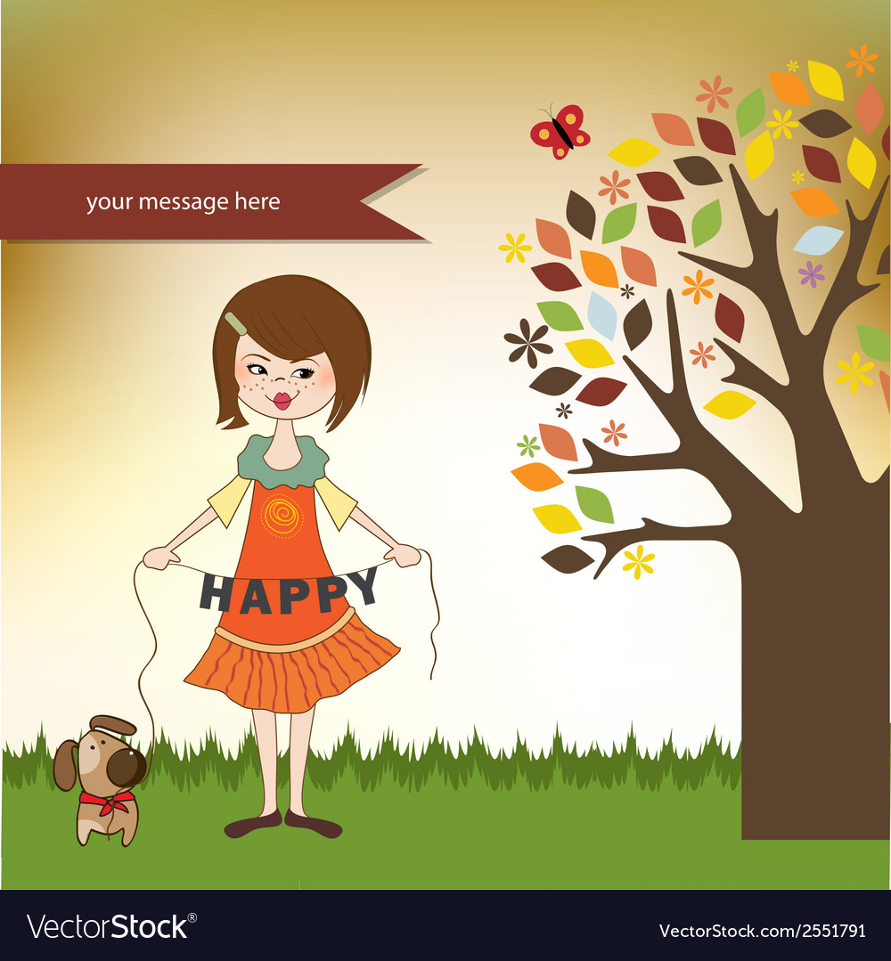 Happy girl with cute dog vector | Price: 1 Credit (USD $1)