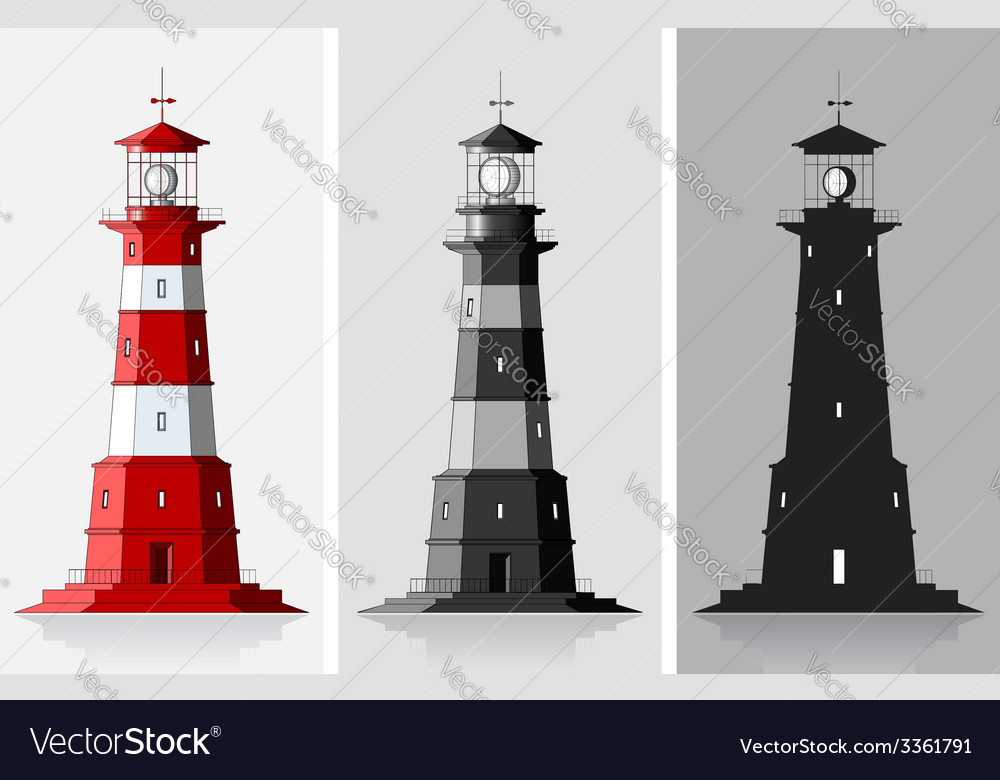 Lighthouses set of of large lighthouses over grey vector | Price: 1 Credit (USD $1)
