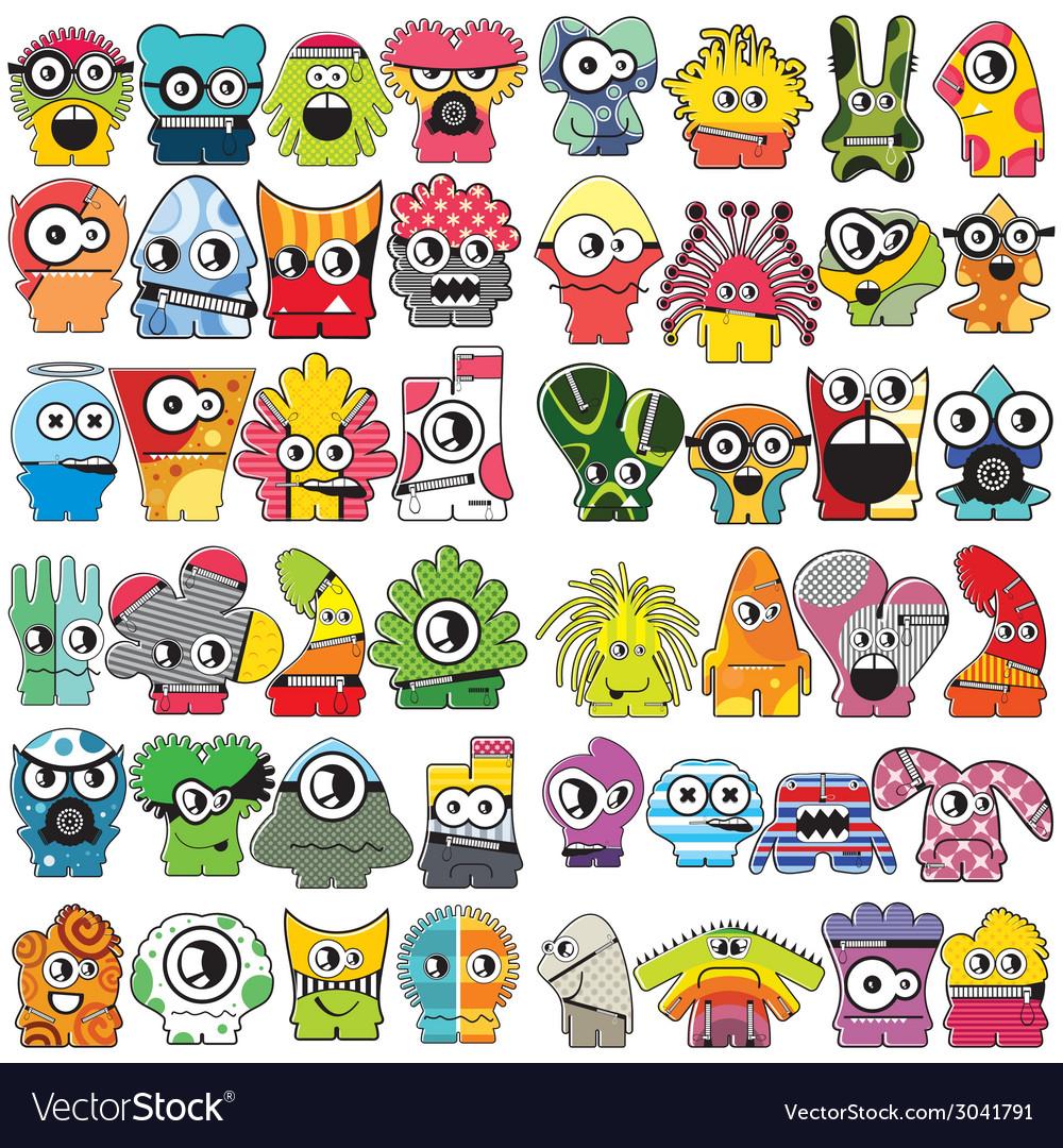 Monsters - set vector | Price: 1 Credit (USD $1)
