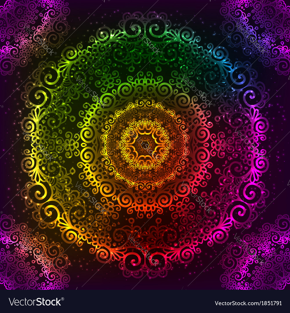 Ornate rainbow neon mandala vector