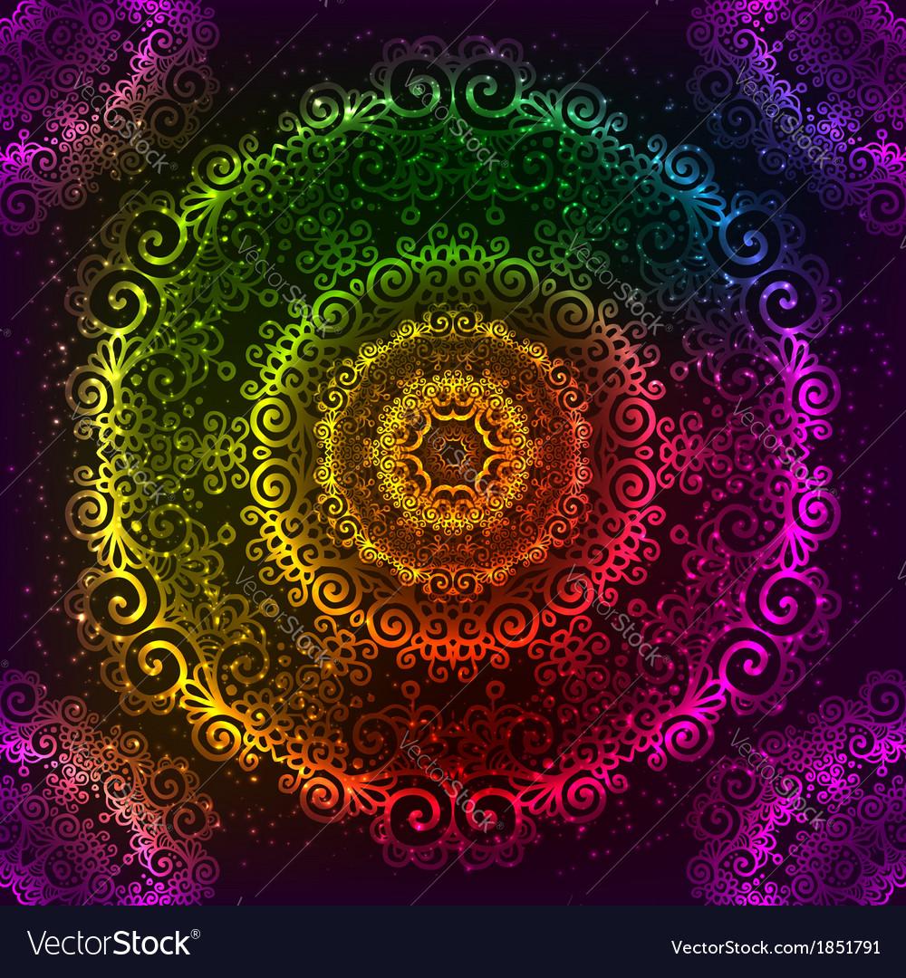 Ornate rainbow neon mandala vector | Price: 1 Credit (USD $1)