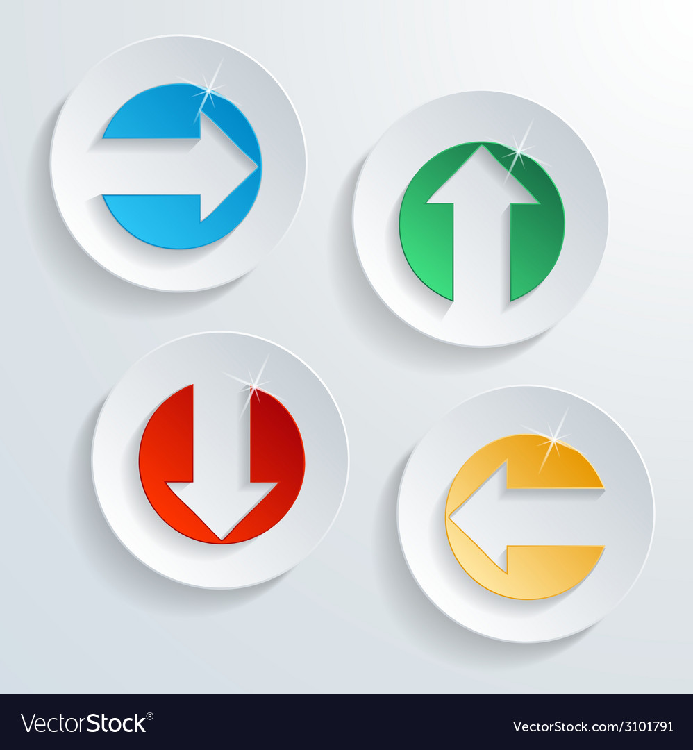 Paper modern arrow button set with shadow effect vector | Price: 1 Credit (USD $1)