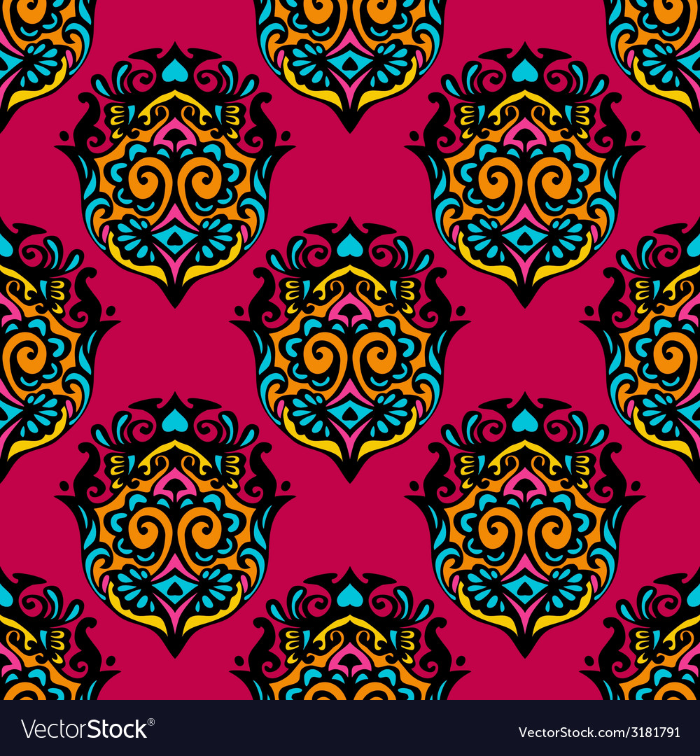 Red colorful damask flower seamless vector | Price: 1 Credit (USD $1)