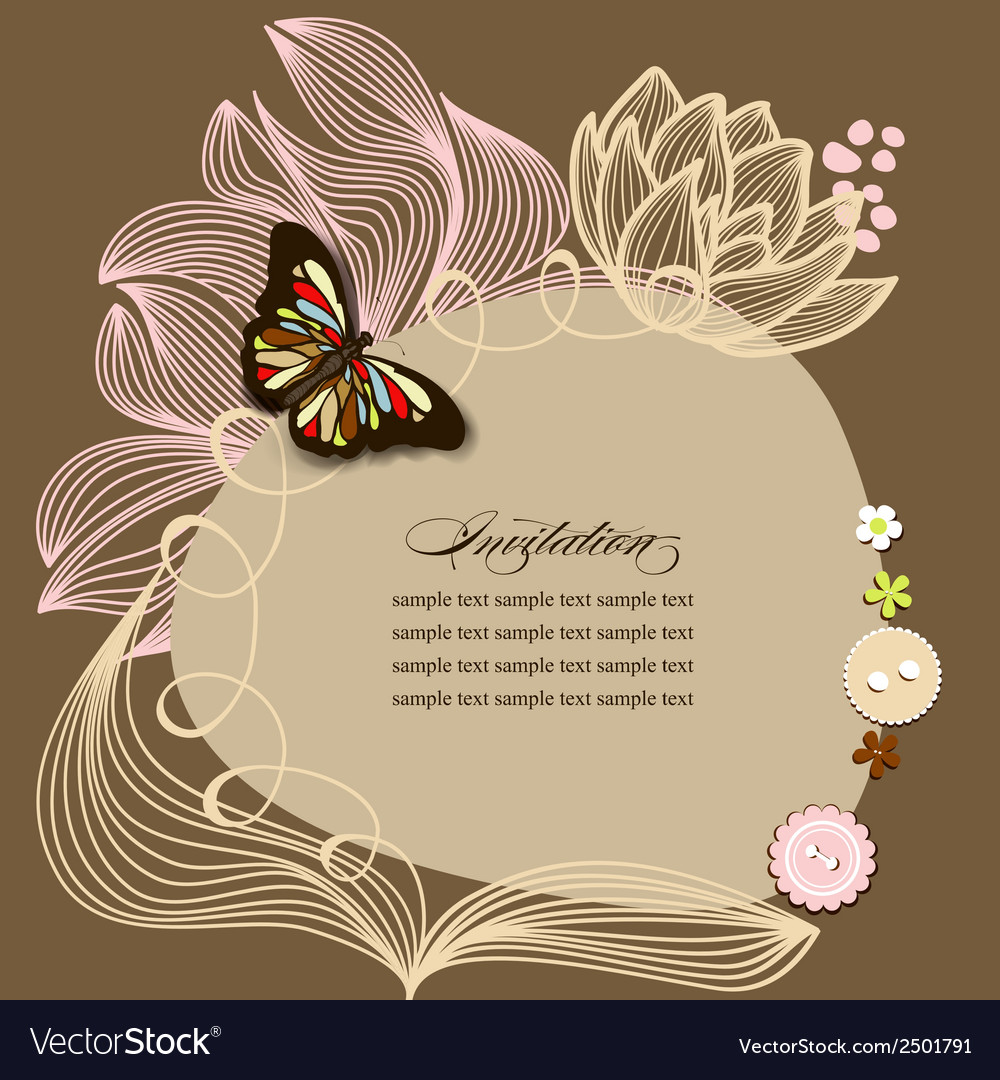 Scrapbook design invitation template with flowers vector | Price: 1 Credit (USD $1)