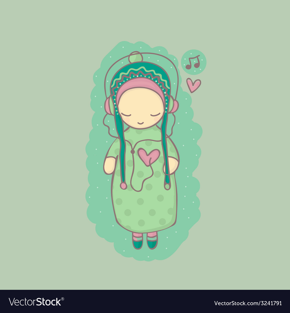 With girl listening to music vector | Price: 1 Credit (USD $1)