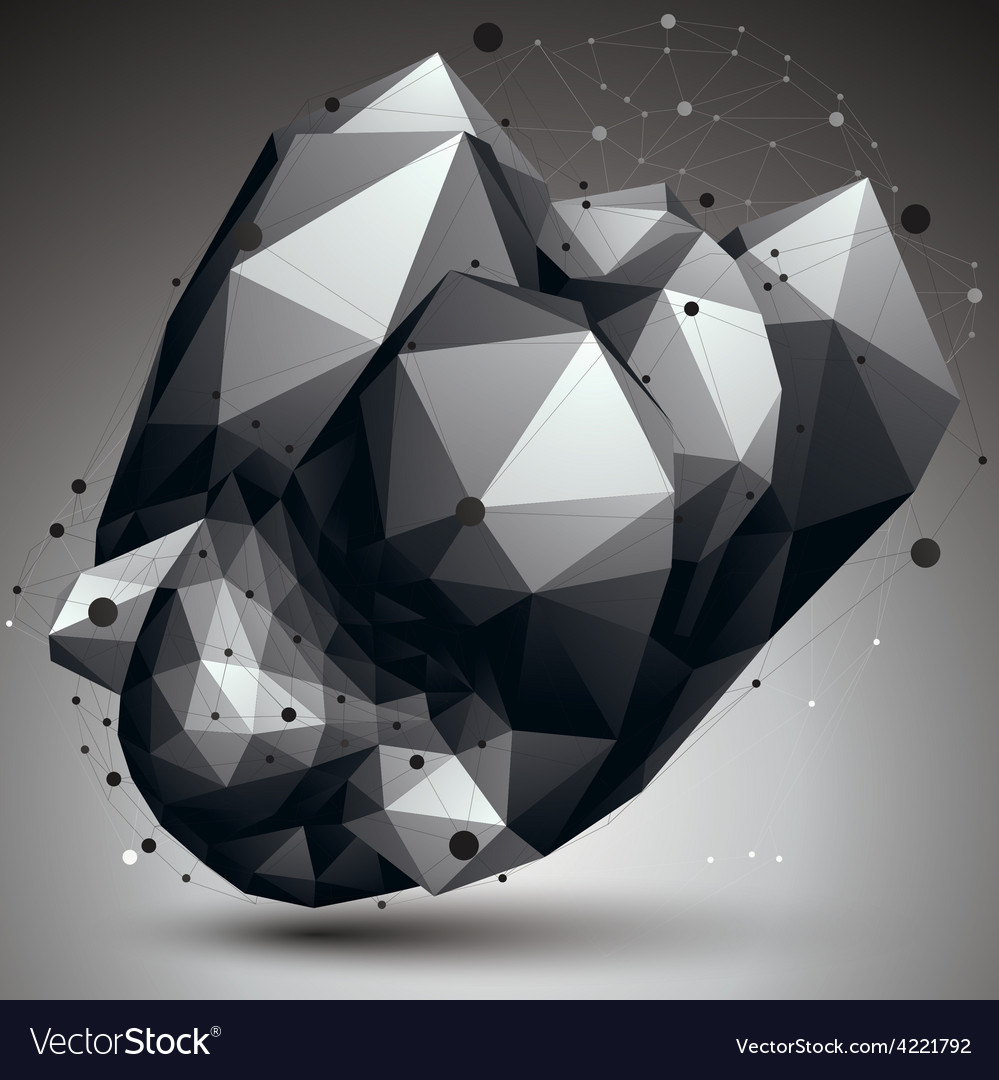 Asymmetric 3d abstract object with connected lines vector   Price: 1 Credit (USD $1)