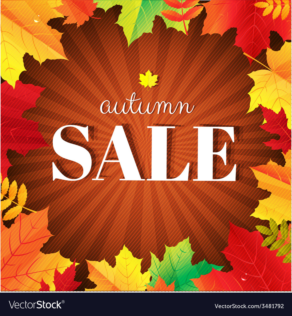 Autumn sale burst poster with leaves vector | Price: 1 Credit (USD $1)