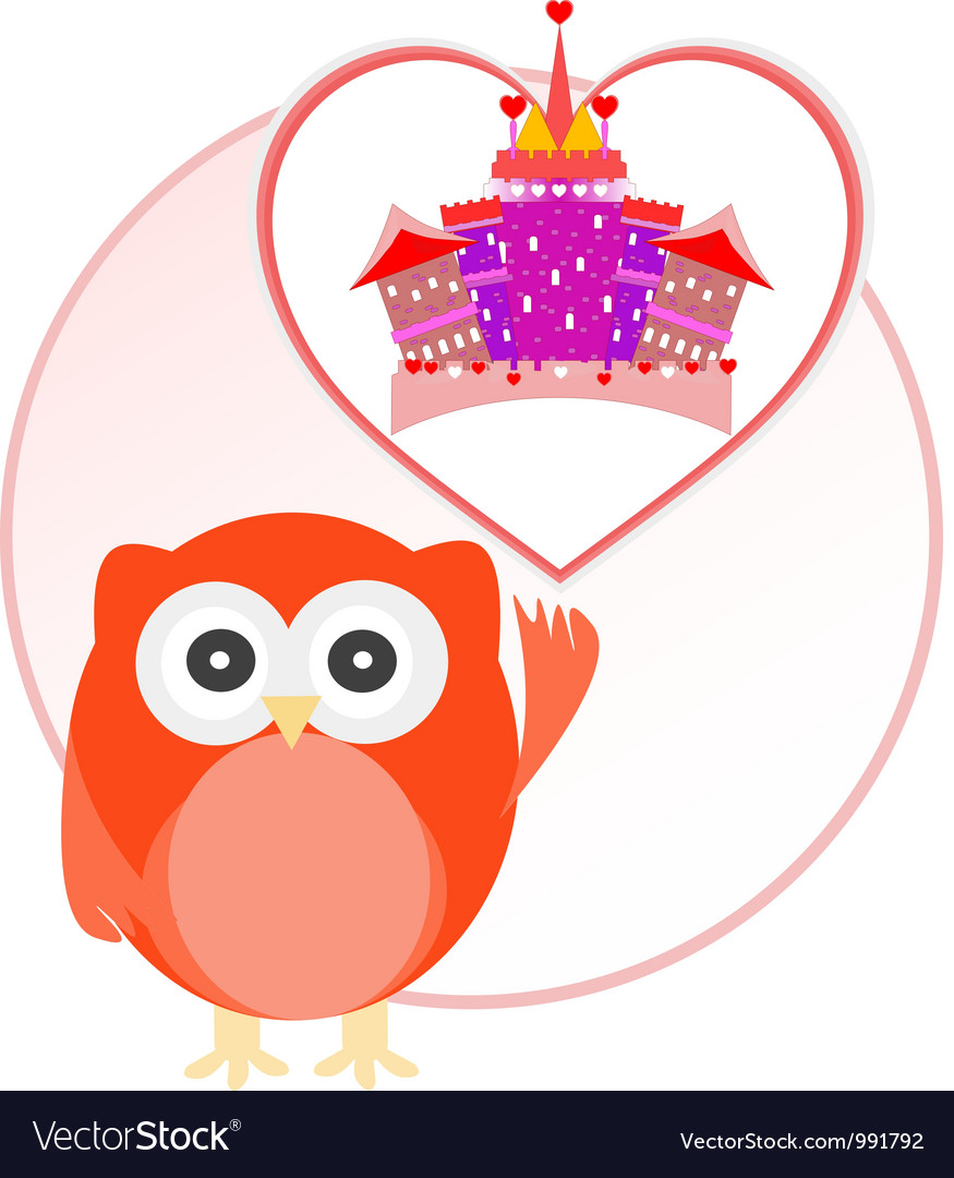 Background with owl and cute castle in love heart vector | Price: 1 Credit (USD $1)