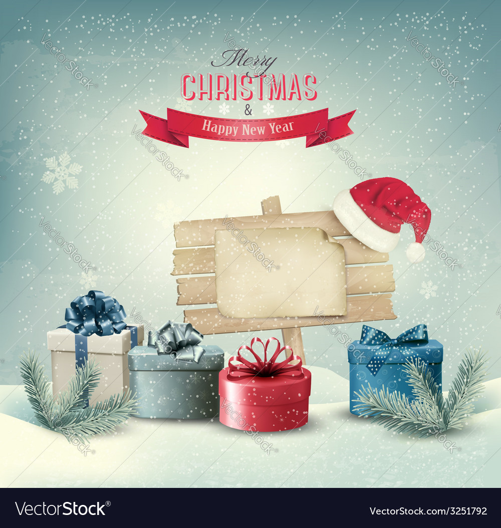 Christmas winter background with presents and vector | Price: 1 Credit (USD $1)