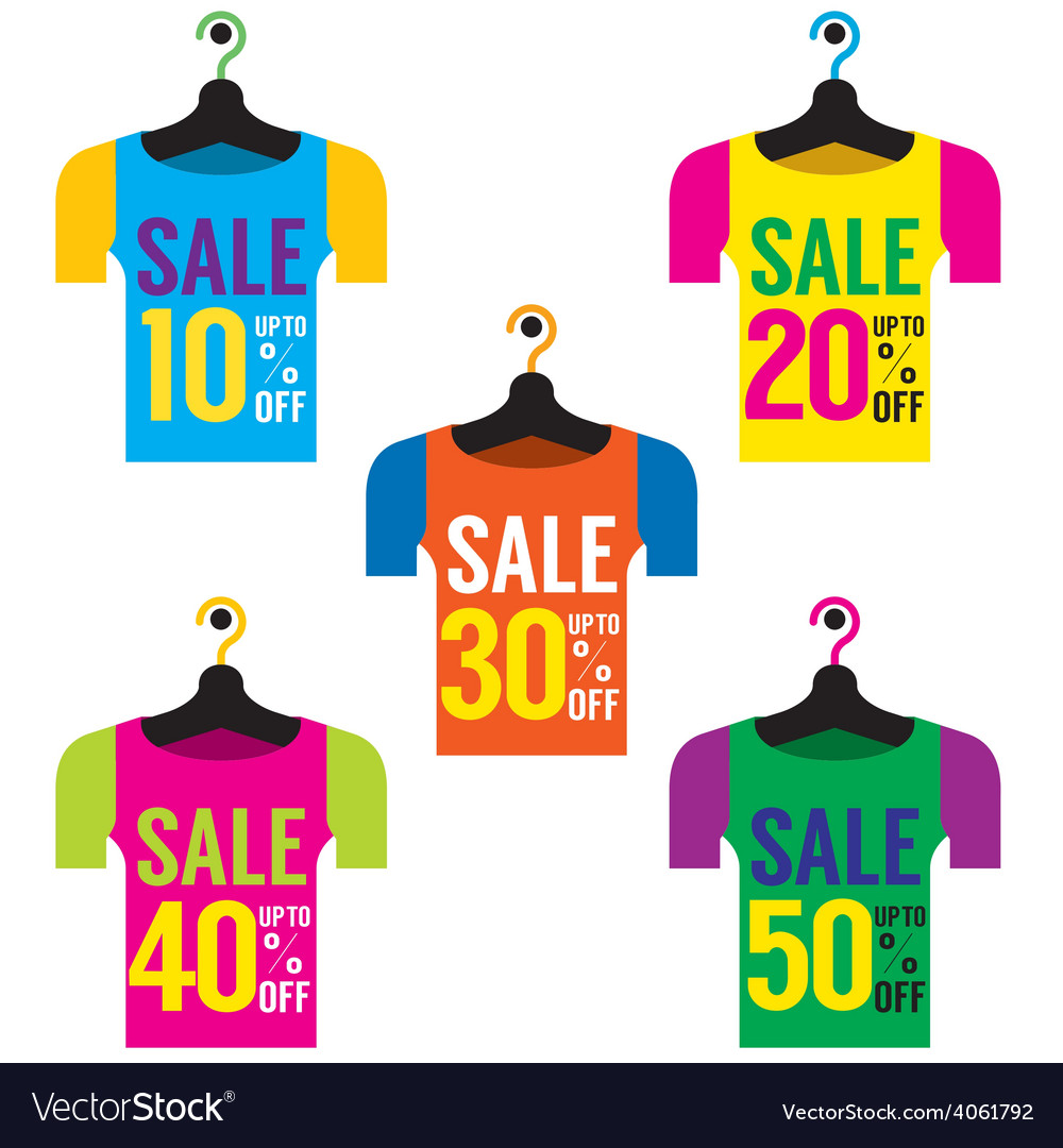 Clothes hangers with sale tag vector | Price: 1 Credit (USD $1)