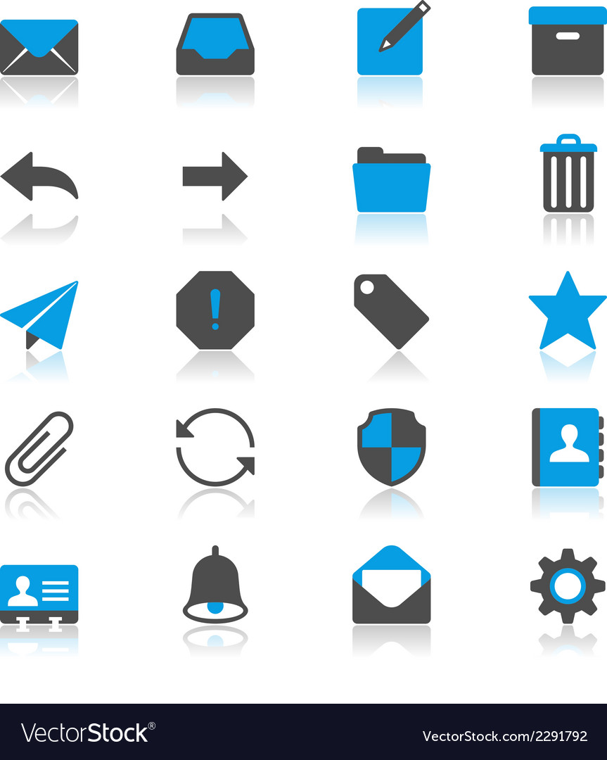 Email flat with reflection icons vector | Price: 1 Credit (USD $1)