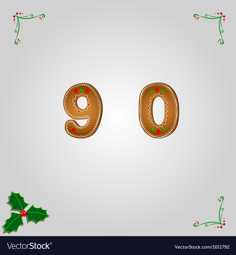 Gingerbread numbers 9 and 0 vector | Price: 1 Credit (USD $1)