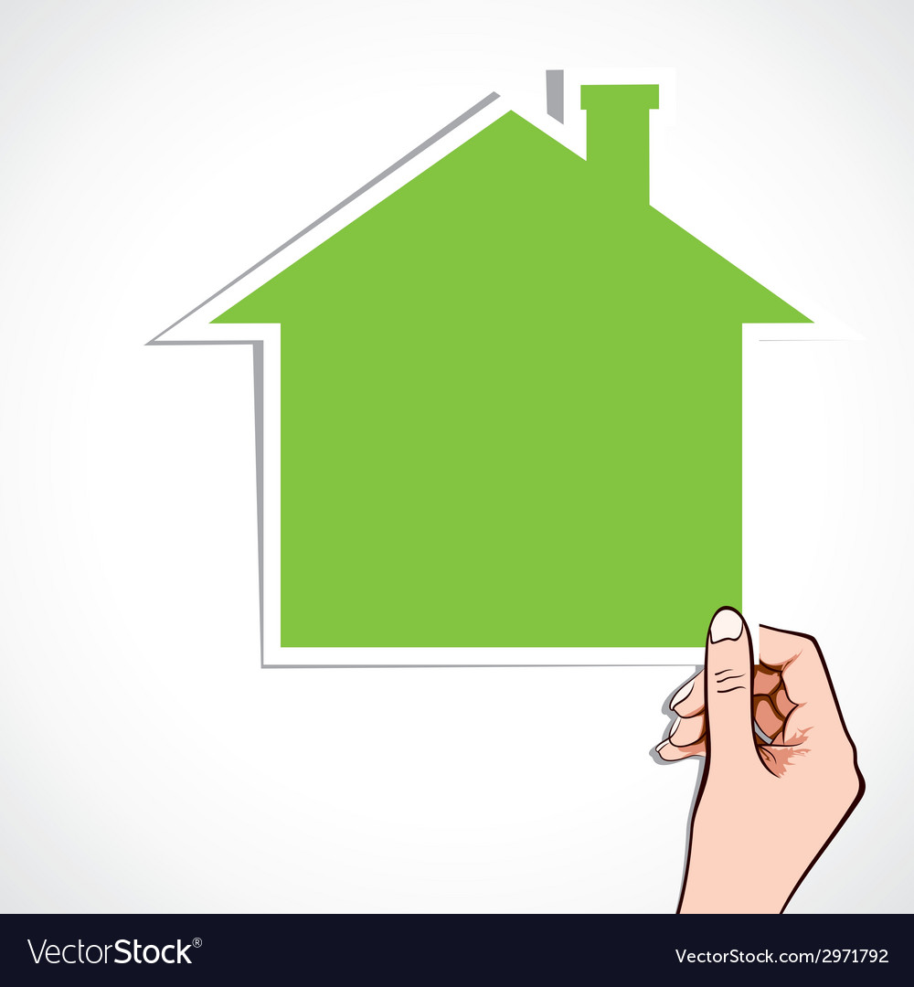 Green home icon in hand vector | Price: 1 Credit (USD $1)
