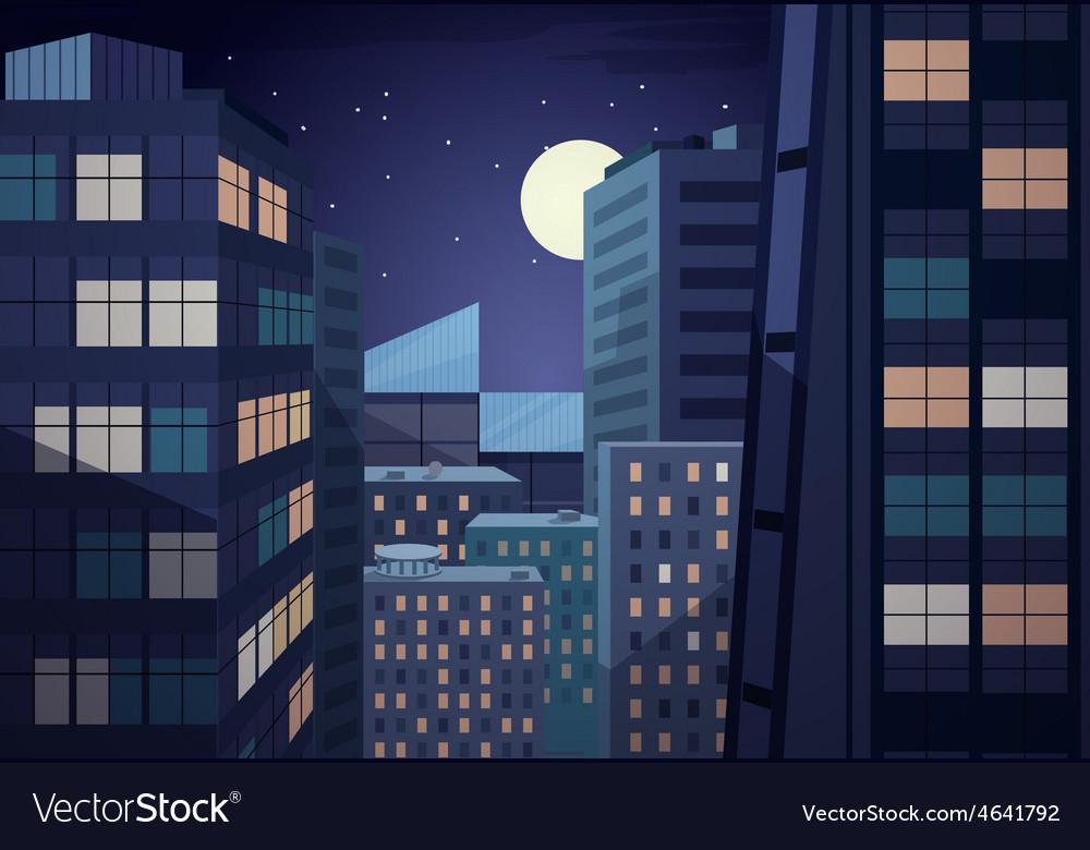 Night cityscape vector   Price: 1 Credit (USD $1)