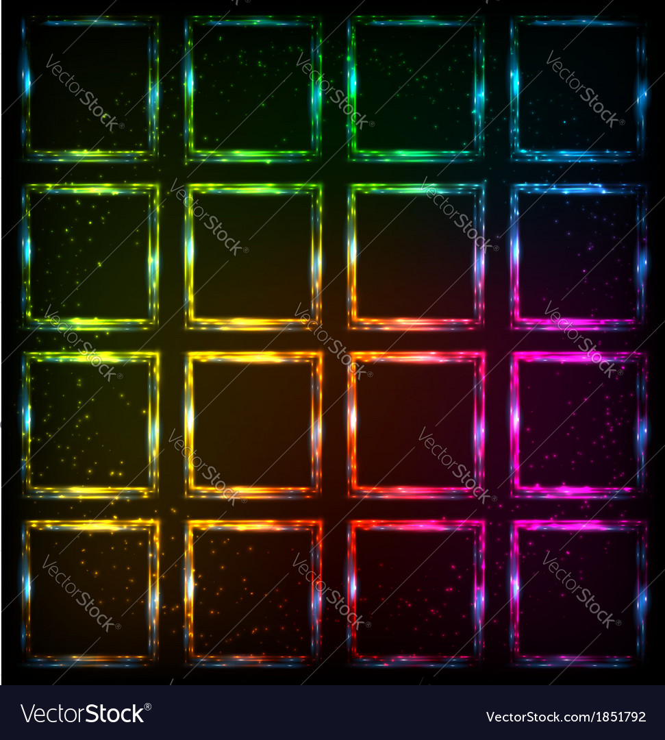 Rainbow neon squares abstract background vector | Price: 1 Credit (USD $1)