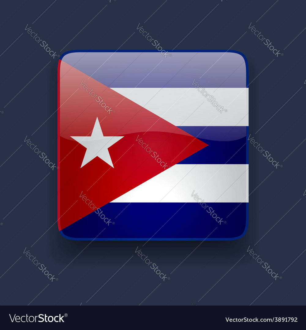Square icon with flag of cuba vector | Price: 1 Credit (USD $1)