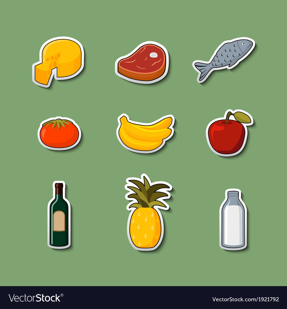 Supermarket foods items on stickers vector | Price: 1 Credit (USD $1)