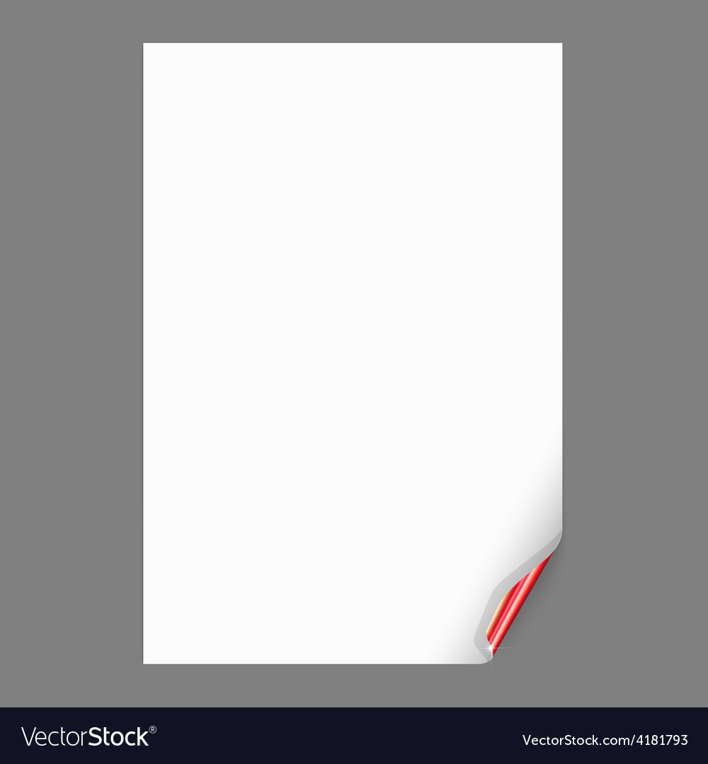 Empty paper sheet with curled corner vector | Price: 1 Credit (USD $1)