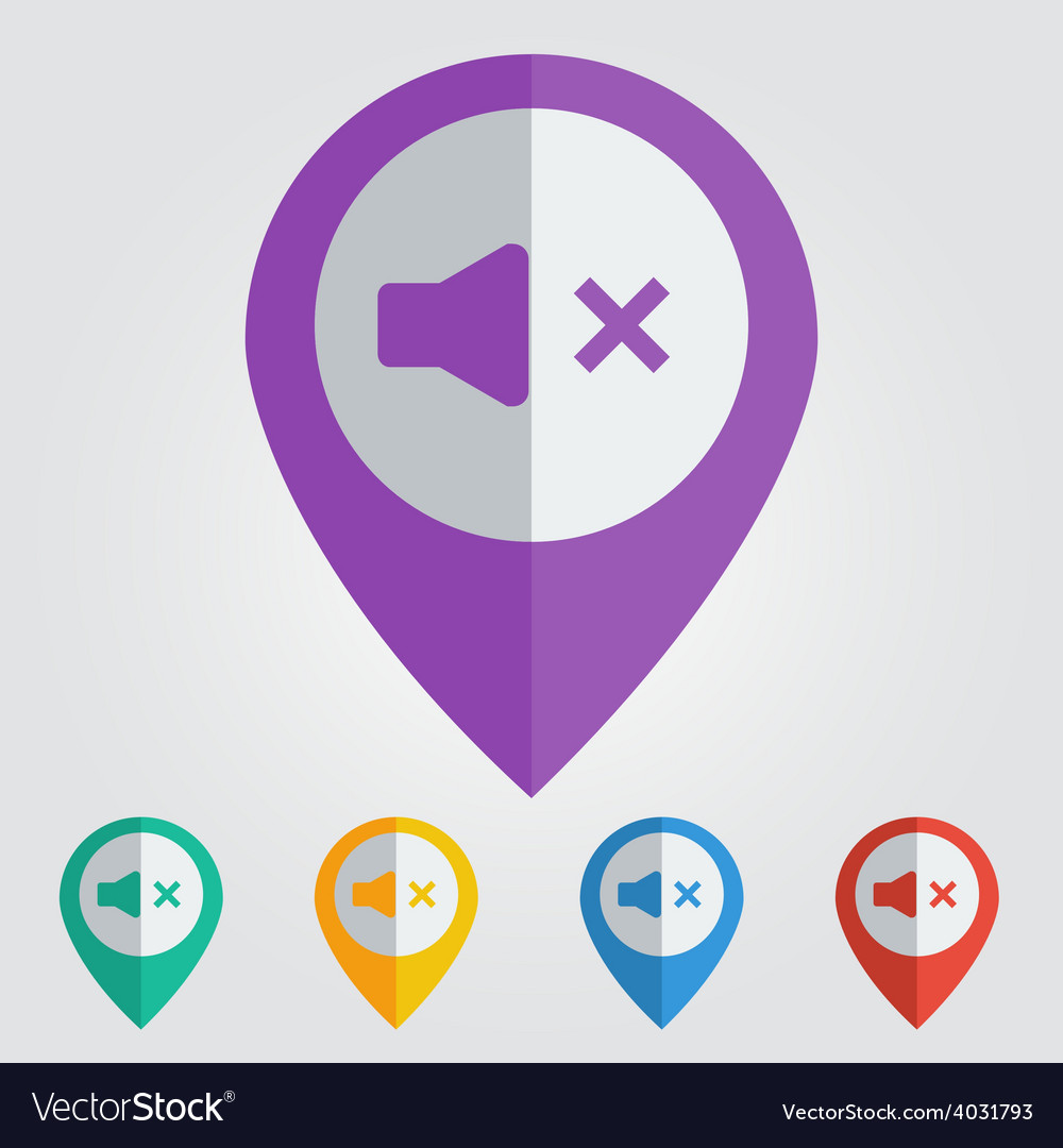 Flat pin with sound off icon vector | Price: 1 Credit (USD $1)