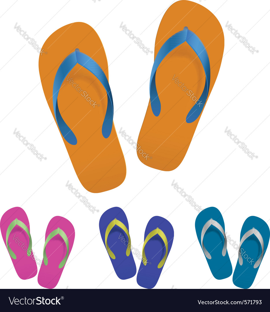 Flip flop set vector | Price: 1 Credit (USD $1)