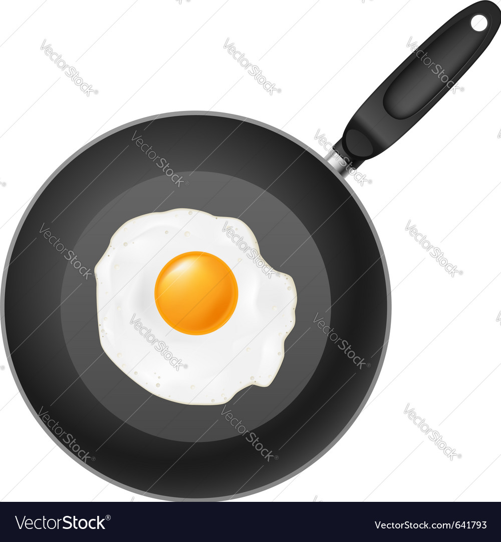 Frying pan with egg on white background vector | Price: 1 Credit (USD $1)