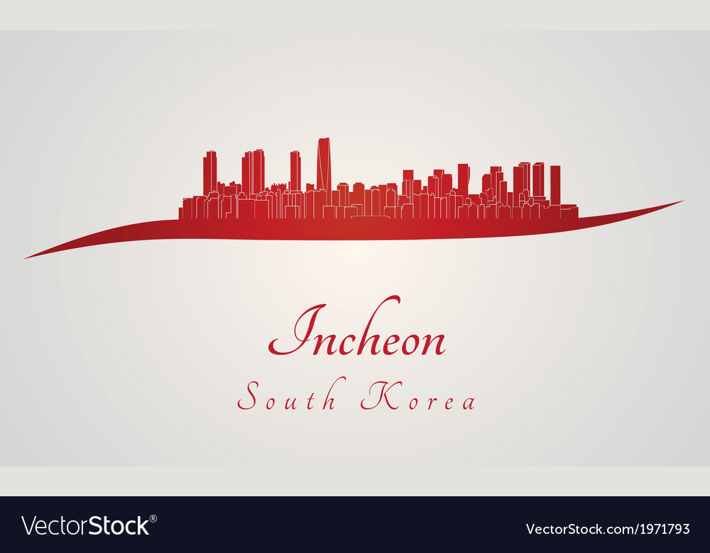 Incheon skyline in red vector | Price: 1 Credit (USD $1)