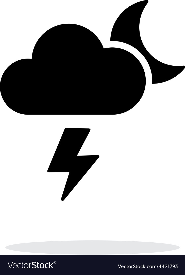 Lightning at night weather simple icon on white vector | Price: 1 Credit (USD $1)