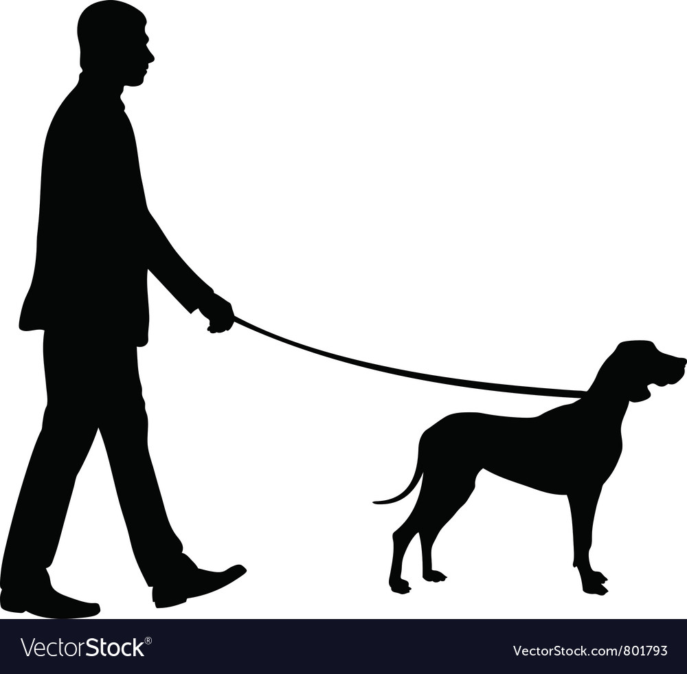 Man with dog vector | Price: 1 Credit (USD $1)