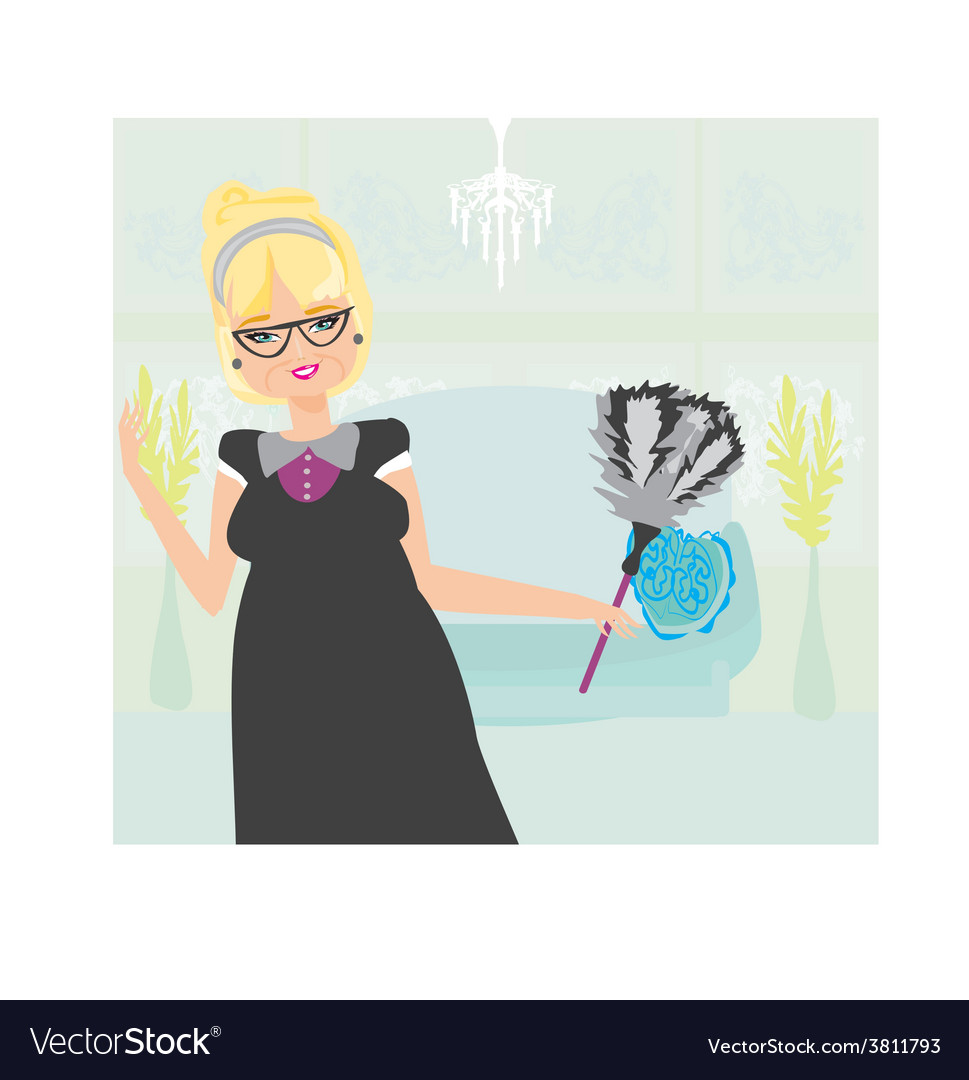 Old lady cleans the apartment vector | Price: 1 Credit (USD $1)