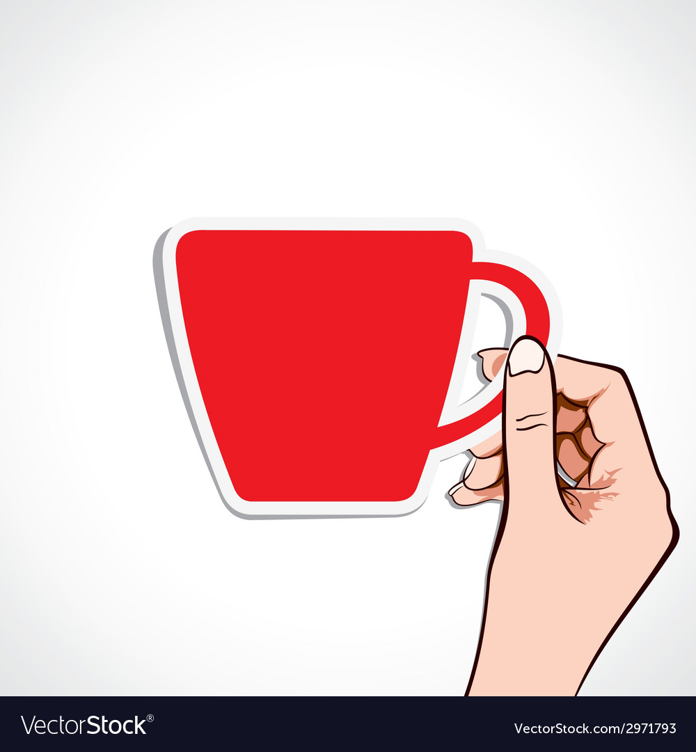 Red coffee cup in hand vector | Price: 1 Credit (USD $1)