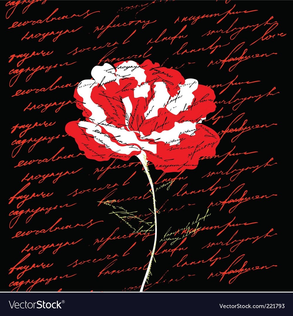 Red flower on black background vector | Price: 1 Credit (USD $1)