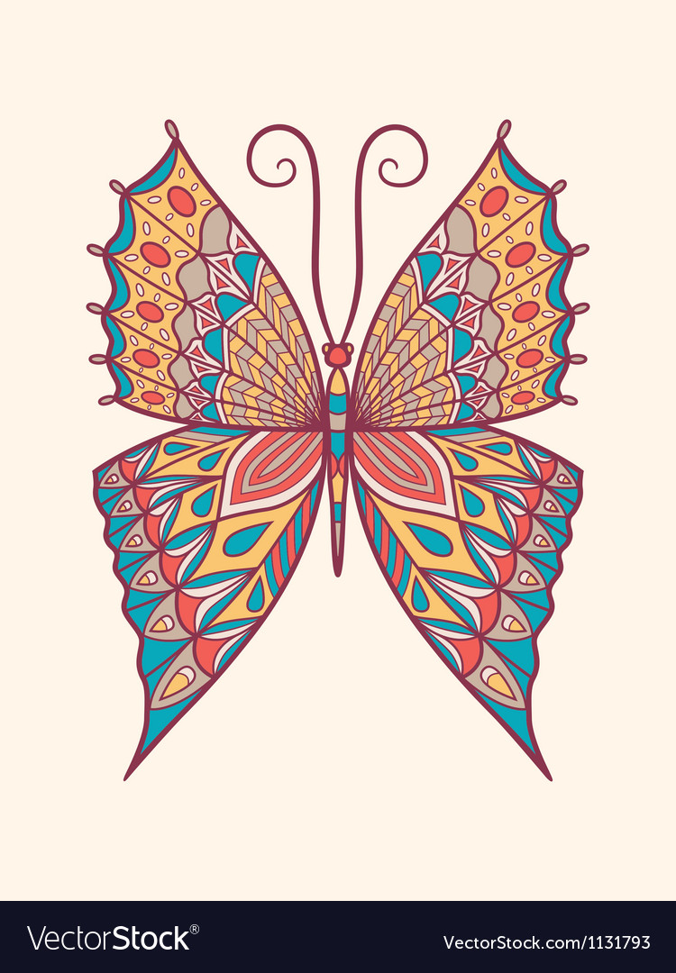 Retro colored butterfly vector | Price: 1 Credit (USD $1)