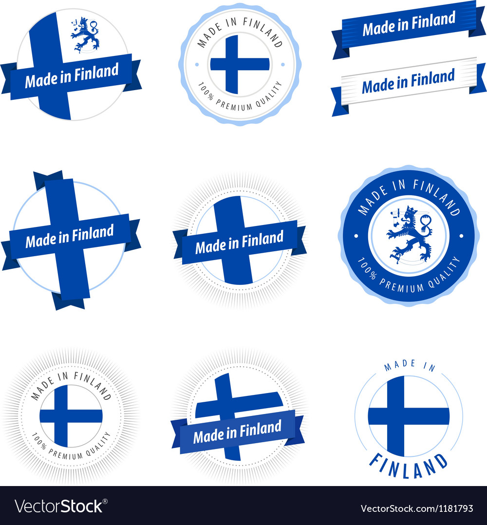Set of made in finland labels and ribbons vector | Price: 1 Credit (USD $1)