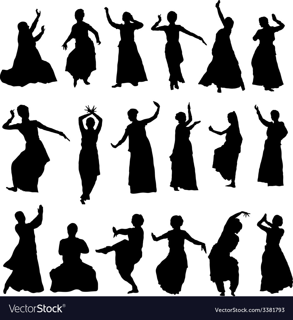 Silhouettes indian dancers vector | Price: 1 Credit (USD $1)