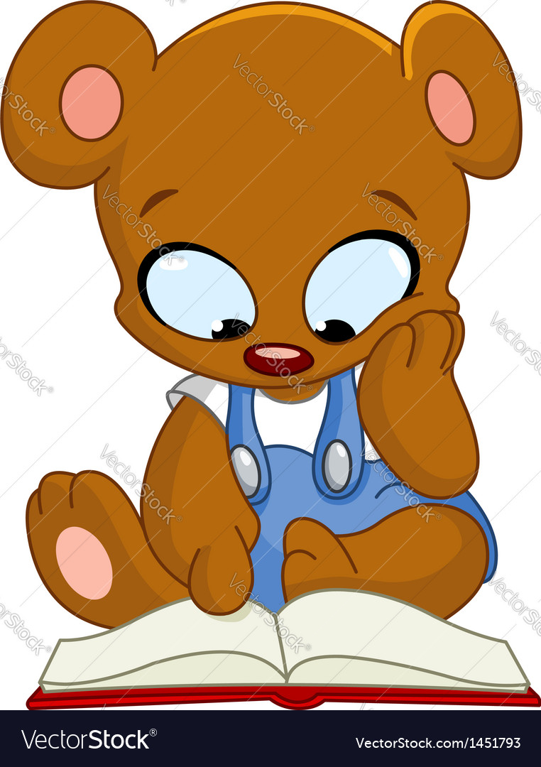 Teddy bear reading book vector | Price: 1 Credit (USD $1)