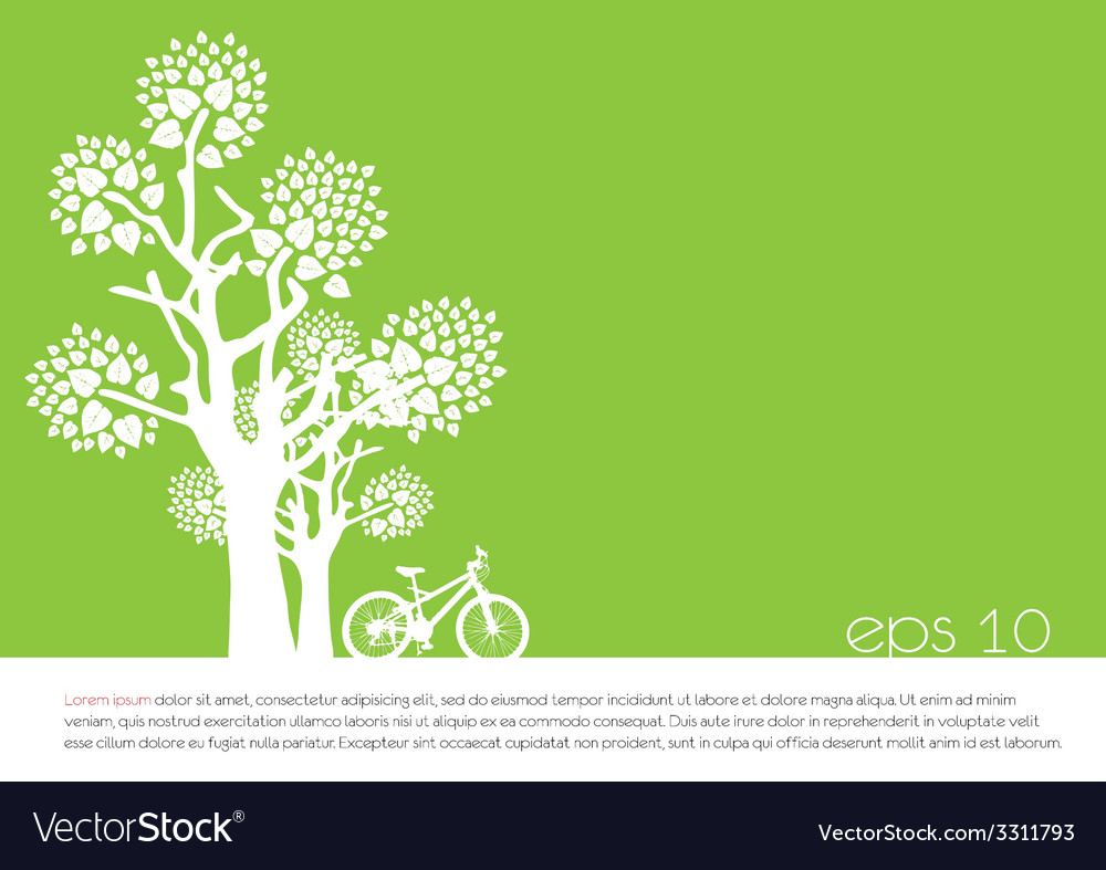 Tree an bicycle over green background vector | Price: 1 Credit (USD $1)