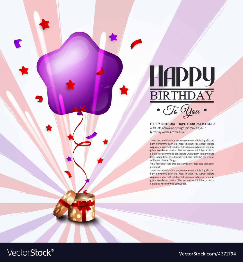 Birthday card with open gift box balloons and vector | Price: 1 Credit (USD $1)