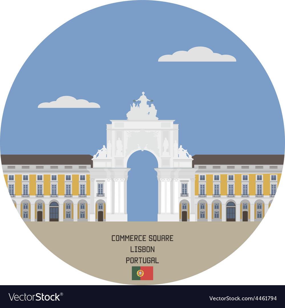 Commerce square lisbon portugal vector | Price: 1 Credit (USD $1)