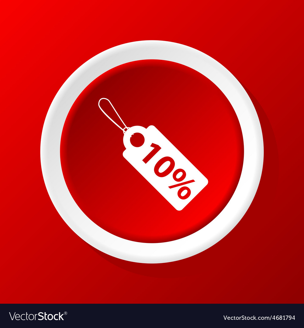 Discount icon on red vector | Price: 1 Credit (USD $1)