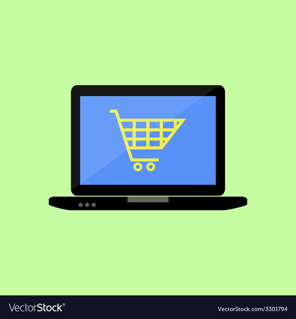 Flat style laptop with shopping cart vector | Price: 1 Credit (USD $1)