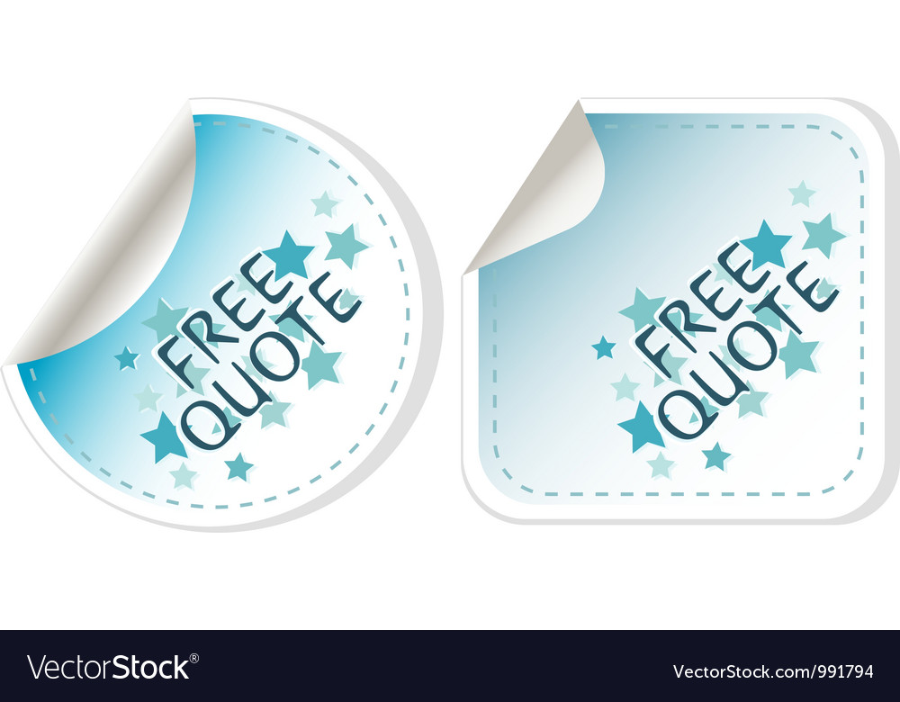 Free quote blue sticker icon button sign vector | Price: 1 Credit (USD $1)
