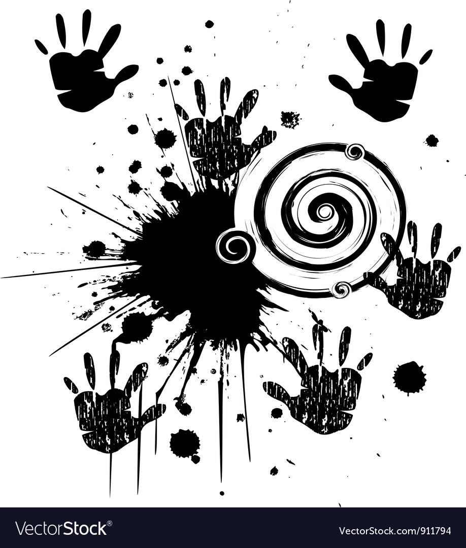 Ink hands grunge splat vector | Price: 1 Credit (USD $1)