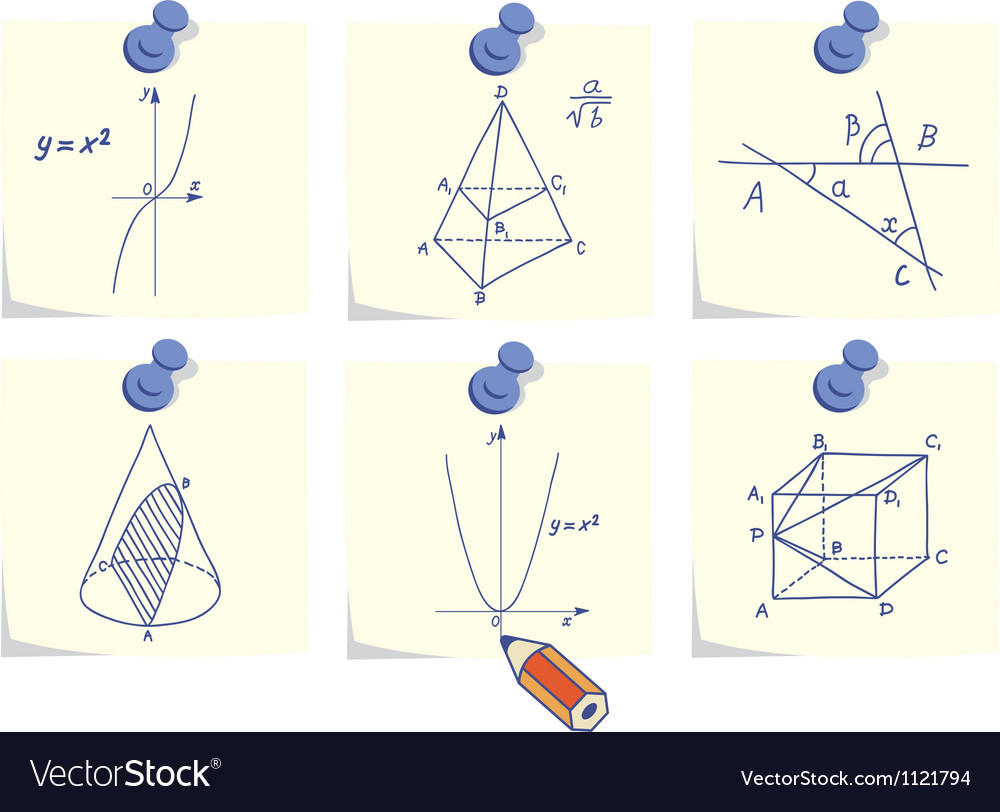 Mathematics and geometry icons vector | Price: 1 Credit (USD $1)