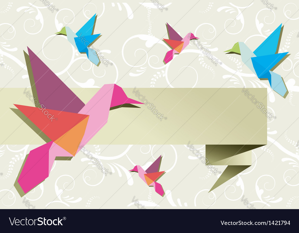 Origami hummingbird group with banner vector | Price: 1 Credit (USD $1)